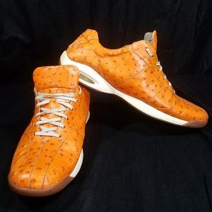 Cole Haan Nike Air Orange Ostrich Men Shoe Sz 14M